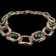Simmons Retro Gold Filled Bezel Set Green Crystals Bracelet