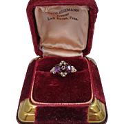 Victorian 10k Gold Amethysts and Seed Pearls Ring with Box