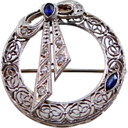 14k White and Yellow Gold Diamonds & Sapphires Filigree Pin with Bow