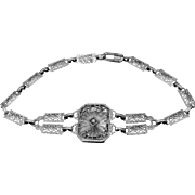1920's 10k Gold Diamond & Camphor Glass Filigree Bracelet