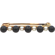 Victorian 14k Gold Jet and Seed Pearls Mourning Pin