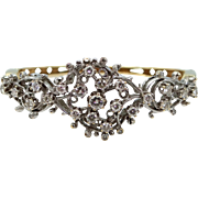 14k White & Yellow Gold 2.4 Carat Diamond Bangle Bracelet