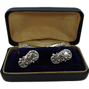 Victorian Era Sterling Silver Repousse Cuff Links