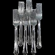 6 Heirloom Sterling Dinner Forks Damask Rose Pattern Oneida 1946