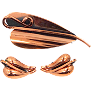 Renoir Matisse Copper Abstract Leaf Pin and Matching Earrings