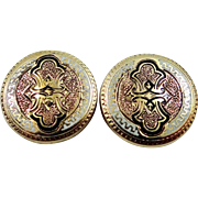 Victorian 10k Gold and Enamel Cuff Buttons or Cuff Links