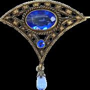 1930's Czechoslovakia Filigree Gilt Brass and Blue Glass Pin