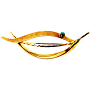 18k Gold and Turquoise Abstract Pin
