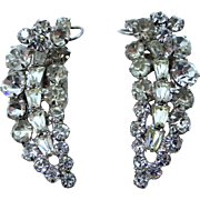"Unusual Pair Art Deco Style Dress Clips with ""Floating Wire"" or ""Wire-Over"" Elements"