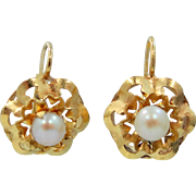 14k Gold Cultured Pearls Leverback Earrings