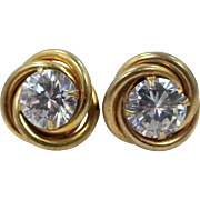 Vintage Gold Fld. Imitation Diamonds Earrings