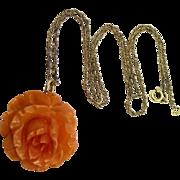 Vintage Carved Bakelite Figural Rose Gold Filled Necklace