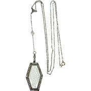 Art Deco White Gold Fld. Filigree Back Carved Glass Necklace