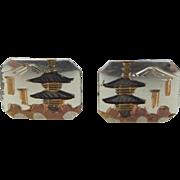 1940's 800 Silver and 9k Gold Pagoda Asian Cufflinks Cuff Links