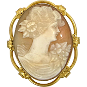 Retro Gold Filled Carved Shell Cameo Pin