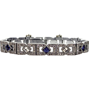 1920's Rhodium Plated Art Deco Bracelet