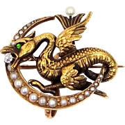 Victorian DRAGON 14k Gold Diamond, Seed Pearls and Emerald Watch Pin