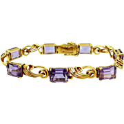 18k Gold and Amethysts Retro Era Bracelet 26 Carats of Amethysts!