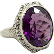 1920s Sterling Silver Art Deco Amethyst Glass Ring