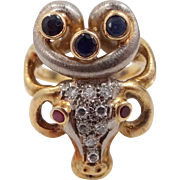 18k Gold ILIAS LALAOUNIS Diamond, Rubies and Sapphires Rams Head Ring