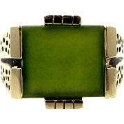 Large 10k Solid Gold Jade Man's Ring With Leopard Shoulders