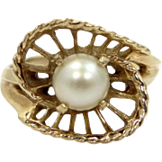 10k Gold Filigree Framed Cultured Pearl Ring