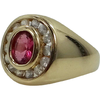 14k Gold Pink Tourmaline and White Sapphires Ladies Size 6 1/2 Ring