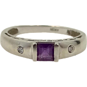 10k White Gold Princess Cut Amethyst and Diamonds Ring