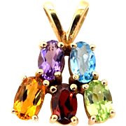 10k Gold and 5 Gemstones Pendant