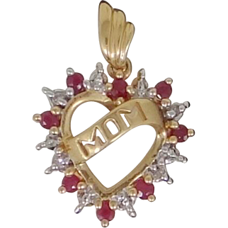 10k Gold Rubies and Diamonds Heart Pendant