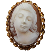 Vintage Full Frontal Face Carved Shell Cameo Pin / Pendant