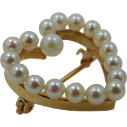 Victorian 14k Gold Cultured Pearls Valentine Heart Shaped Pin