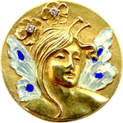 Extraordinary 14k Gold Diamonds and Enamel Fairy Girl Art Nouveau Style Pin