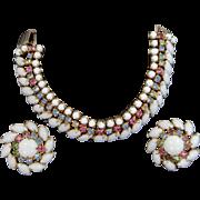 Vintage Pastels & White Rhinestones Bracelet and Earrings Set