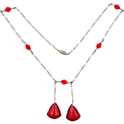 1920's Flapper Style Faceted Red Glass Double Drop Necklace