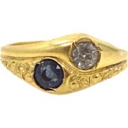 Victorian Gold Shell Blue and Clear Paste Lady's Ring Old Store Stock