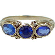 Vintage 14k Gold Seed Pearls and Sapphire Color Spinels Lady's Ring