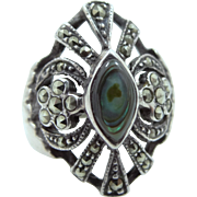 Pretty Sterling Silver, Marcasites and Abalone Lady's Size 6 1/2 Ring