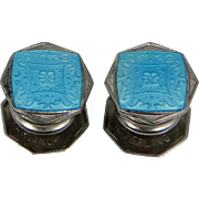 Art Deco Baer & Wilde Sterling Silver and Blue Enamel Kum-a-Part Snap Cufflinks Cuff Links