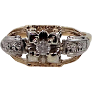 1930's 14k White Gold and Yellow Gold Diamond Ring