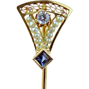 Victorian 14k Gold Blue Topaz and Seed Pearls Stickpin Stick Pin