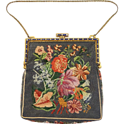 Austria Marcasites Jeweled Frame Petit Point Handbag Purse