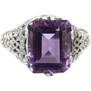 1920s Sterling Silver Filigree Amethyst Ring