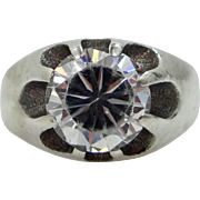 1930s Sterling Silver and Large Paste Stone Multi Prongs Ring