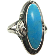 Vintage Sterling Silver and Turquoise Southwestern Ring Pre Eagle Mexico Mark