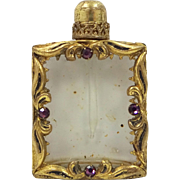 Vintage Jeweled Glass and Gilt Brass Small Perfume Bottle