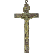 Solid Brass and Inlaid Wood Victorian Pectoral Crucifix with Skull & Crossbones