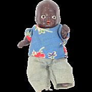 """3 1/2"""" 5 Piece Bisque Dressed Black Baby Doll"""
