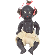 """2 3/4""""  Five Piece Bisque Black Baby Doll with Pigtail Tufts"""