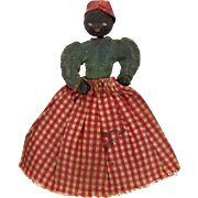Tiny Antique Leather and Cloth Black Mammy Doll